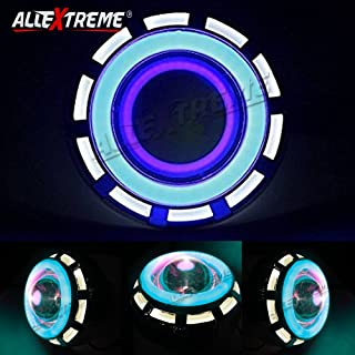 Allextreme Projector Lamp High Intensity Led Headlight Stylish Dual Ring Cob Led Inside Double Angel'S Eye Ring Lens Projector For,(White & Blue)