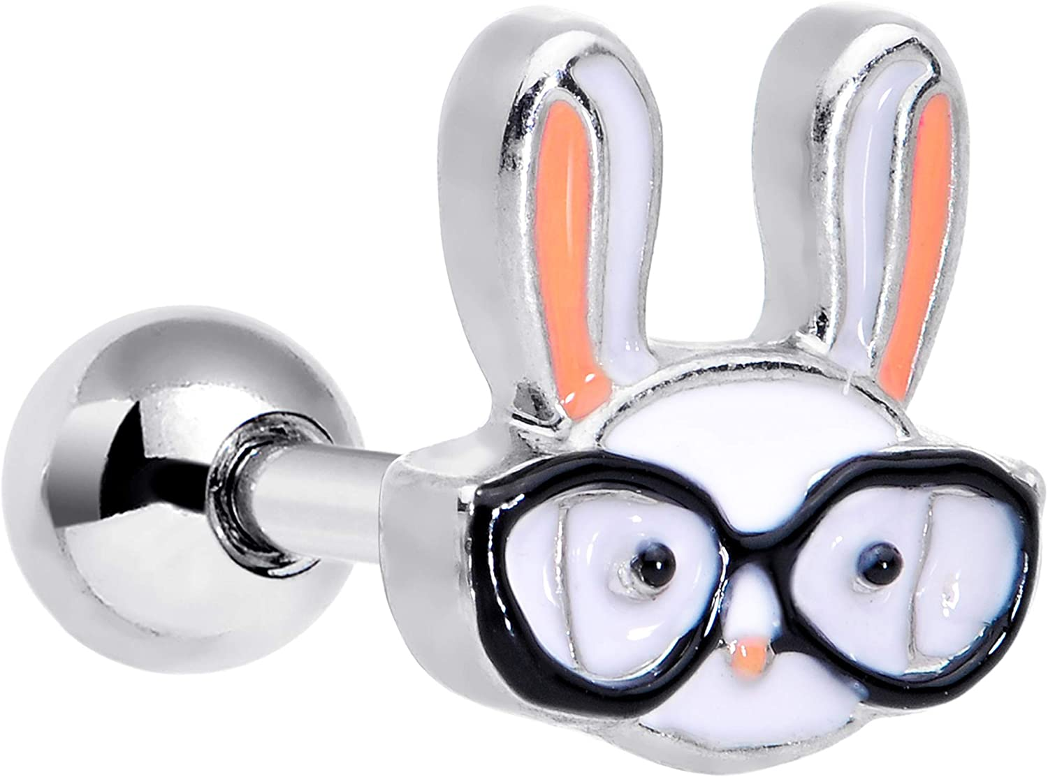 Body Candy 16G Unisex Stainless Steel White Black Nerdy Bunny Rabbit Cartilage Earring Tragus Jewelry 1/4