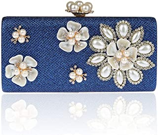 NSHUN Womens Glitter Floral Pearl Beaded Clutch Evening Bags for Women Formal Bridal Wedding Clutch Purse Prom Cocktail Party Handbags Bridal Purse (Color : Blue)