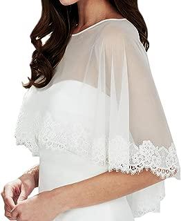 Embroidered Lace Tulle Shrug Shawl Wrap Bolero Wedding Jacket for Bride