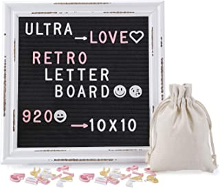 Letter Board, Felt Letter Board with 920 PCS Replaceable Letters &Lovely Emojis, 10x10 Inches Solid Oak Wood Material, Decorative Display Board Designed with Metal Hook (Black Rustic)