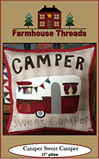 Farmhouse Threads Pattern Sweet Camper Pillow, None