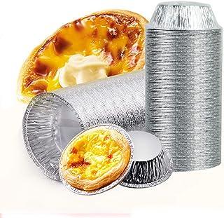 Aluminum Foil Tart Pan Egg Tart Pan Freezer & Oven Safe Disposable Aluminum Round Egg Tart Tin Foil Pans for Baking Suppli...