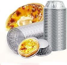 Aluminum Foil Tart Pan Egg Tart Pan Freezer & Oven Safe Disposable Aluminum Round Egg Tart Tin Foil Pans for Baking Supplies (50)
