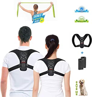Posture Corrector for Women and Men, Adjustable Upper Back Brace for Clavicle Support, Back Support and Shoulder Brace for Back Pain Relief, Improve Posture & Prevent Slouching - Resistance Band Gift