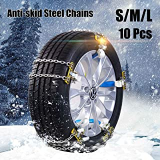 Bessie Sparks 10Pcs Anti-Skid Snow Chains ,Separate Adjustable Emergency Traction Car Winter Snow Tyre Chains ,for Tyres Width 235-285mm/9.25-11.2 in