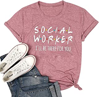 MAXIMGR Social Worker T-Shirt Women Funny Letter Printed Graphic Tees Shirt Casual Summer Short Sleeve Tops Coworker Gift