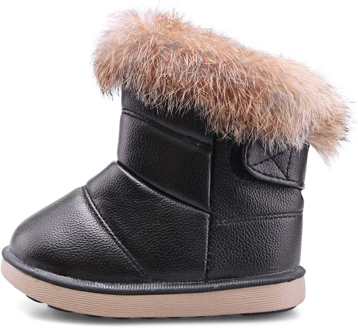 Girl Thick Fur Lined Snow Ankle Boots Winter Flat Shoes For Baby C