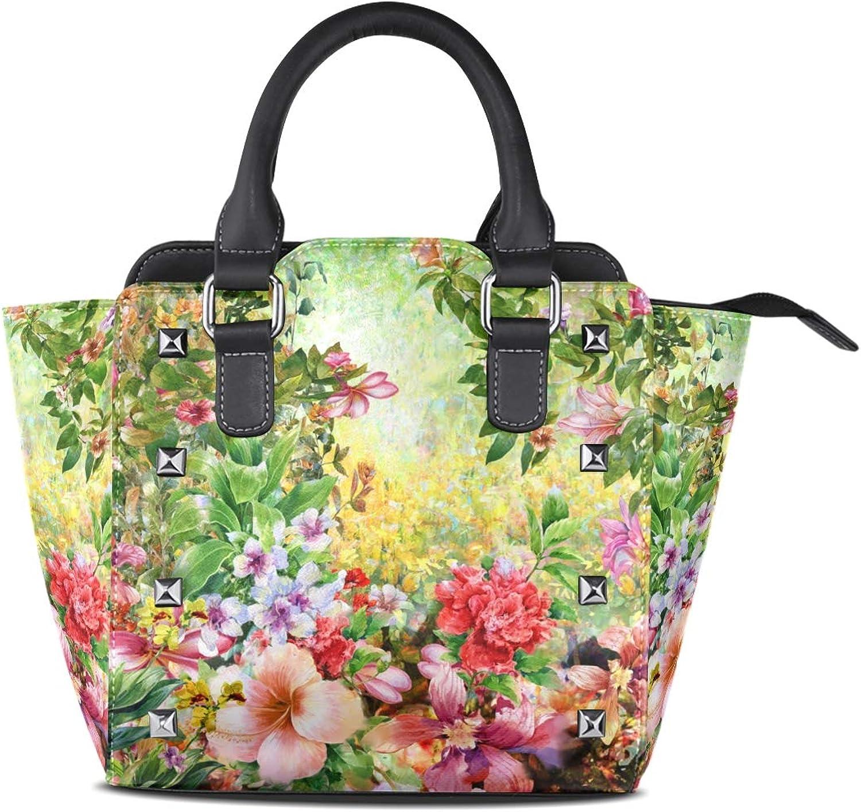 My Little Nest Women's Top Handle Satchel Handbag Watercolor Spring Flowers Ladies PU Leather Shoulder Bag Crossbody Bag