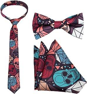 Bundle Monster Mens 3pc Necktie Bow Tie Pocket Square Matching Accessories Set