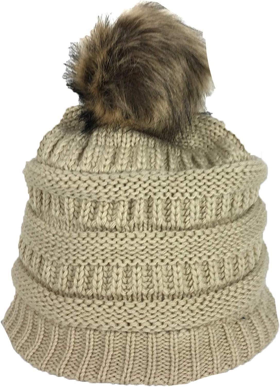 Fashion Culture Women's Knit Pom Pom Fleece Lined Beanie Hat, Khaki