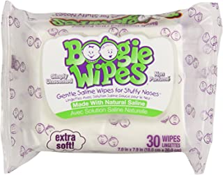 Boogie Wipes 30 Piece Gentle Saline for Stuffy Noses Simply Unscented 3 Count