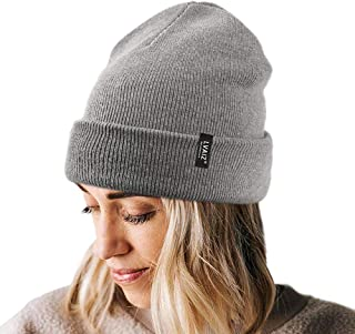 Dosoop Hairball Knitted Cuffed Beanie for Women Rib Knit Hat Thick Winter Warm Slouchy Knit Caps Ski Cycling Outdoor Sport