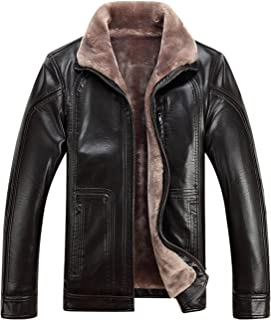 Tanming Men's Winter Warm Leather Coat Real Fur Hooded Leather Jacket