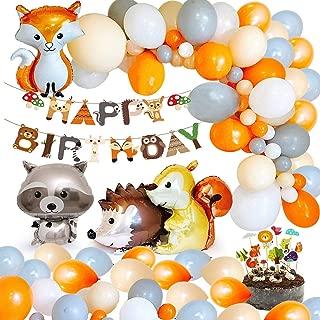 MMTX Decoraciones de fiesta cumpleaños animales, Woondland Banner de feliz cumpleaños de bosque Globo de látex 40pcs con Globo de papel de aluminio para Niño Niña Party Cumpleaños