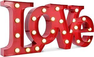 Navaris Lámpara LED con letras LOVE - Letrero luminoso decorativo para mesa pared - Letras iluminadas decorativas a pilas - Luz blanca con fondo rojo