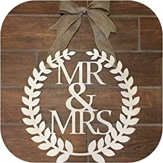 Solarphoenix Rustic Wreath Wedding Newly Married Couples Mr & MRS; Chair Signs, Wedding Bride and Groom Wooden Door hangings,mr and mrs