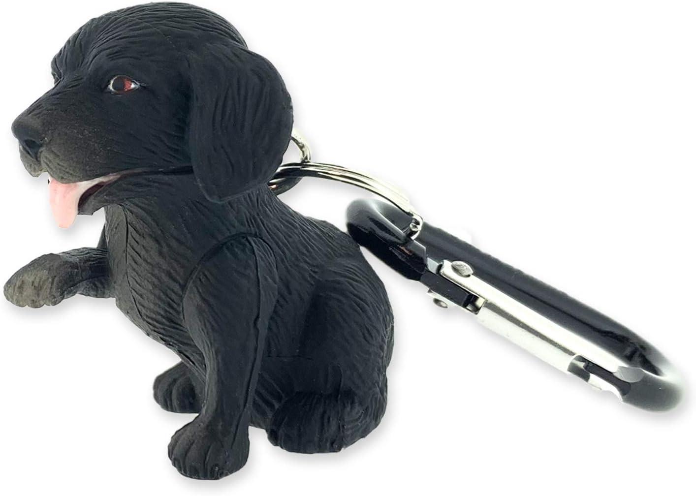 Dog Sun Company WildLight Animal Carabiner Flashlight | Mini Animal Keychain Flash Lights for Kids or Penlight for Pediatrics Nurses Black Labrador