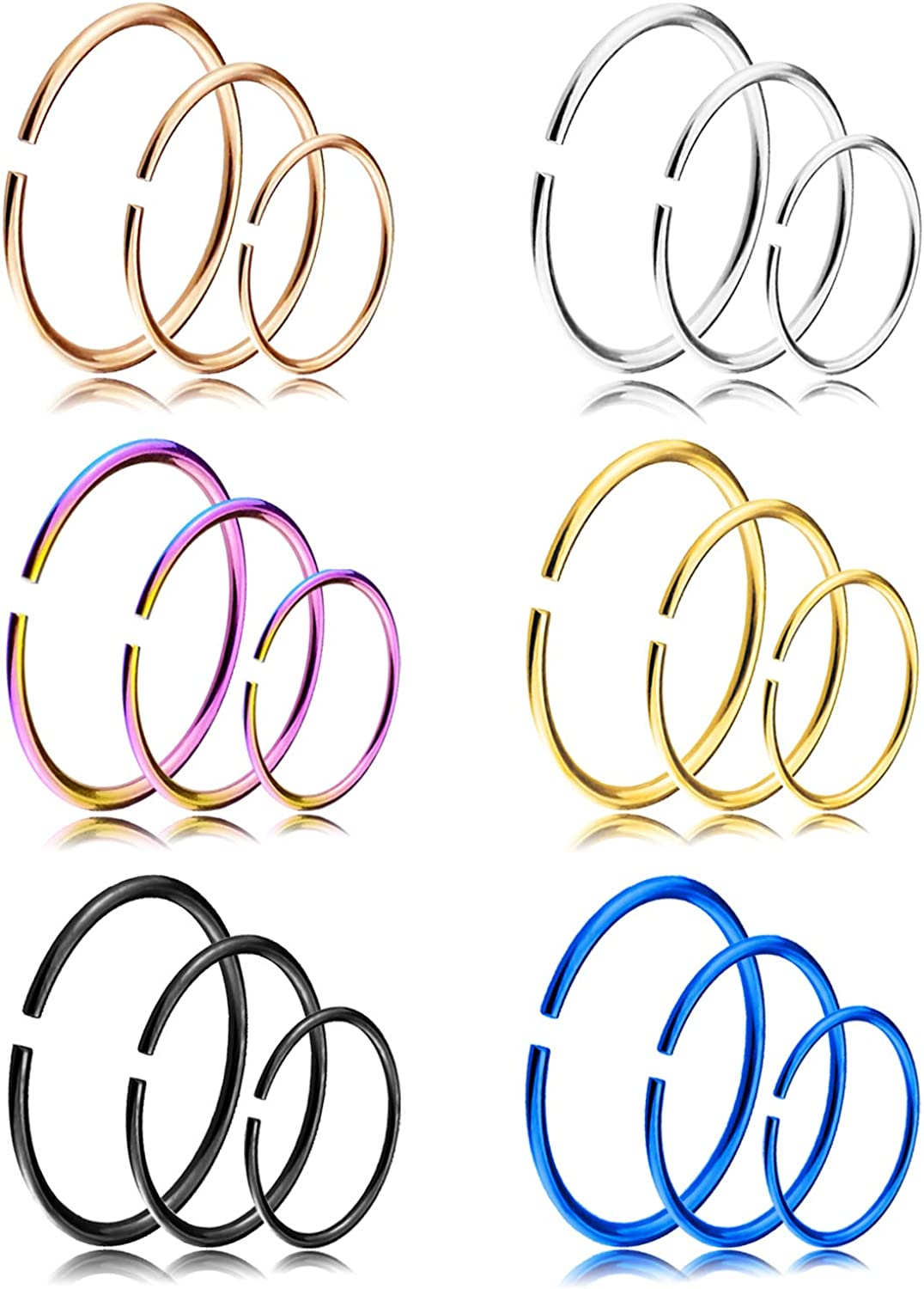 YILIN Nose Hoop Sales of SALE items from new works Rings 18-20G 316L Steel Bo Boston Mall Stainless