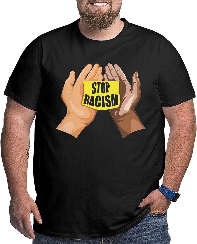 Stop Racism Men's Simple Big Size Summer Outdoor Short Sleeve Shirt