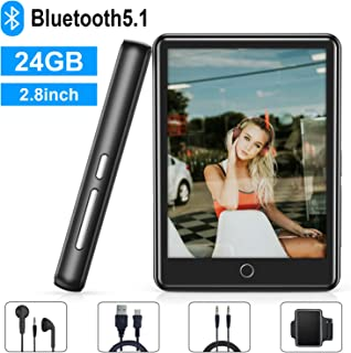 MP3 Player, 24GB MP3 Player with Bluetooth 5.1, 2.8'' Full Touch Screen Portable MP3 MP4 Player with Speaker, FM Radio, Recording, Ebook, HiFi Lossless Music Player for Running, Expandable Up to 128GB