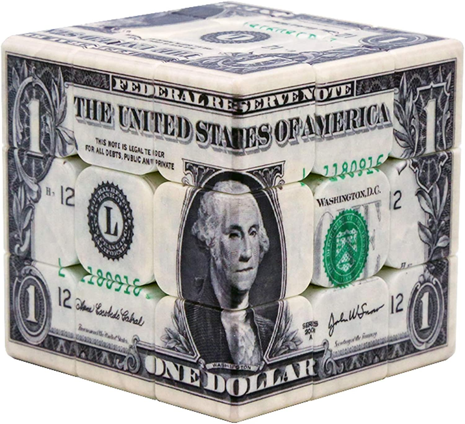 Puzzle Gift Toy Intellectual Development UV Printing Personality Currency US Dollar Third-Order Cube,1
