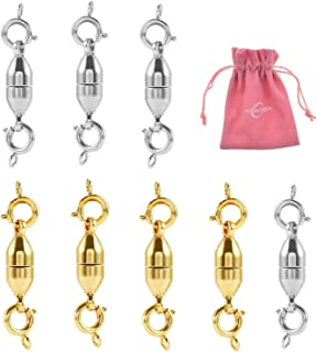 Aiskaer 4 Pcs Gold and 4 Pcs Silver Magnetic Clasps for Jewelry Necklace Bracelet