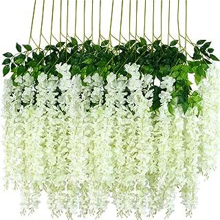 12pcs Artificial Wisteria Flowers 3.6 Feet/Piece White Dense Artificial Fake Wisteria Vine Ratta Hanging Garland Silk Flowers String Home Party Wedding Decor(White-Dense)