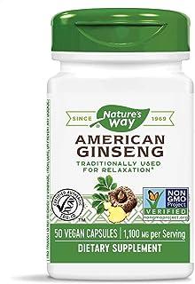 Nature's Way Premium Herbal American Ginseng, 1,100 mg per Serving, 50 Capsules
