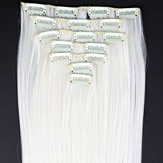 """Yan Dream Women Long Synthetic Straight 24"""" 7 Individual Pieces Clip In Hair Extensions 130g (White Blonde)"""