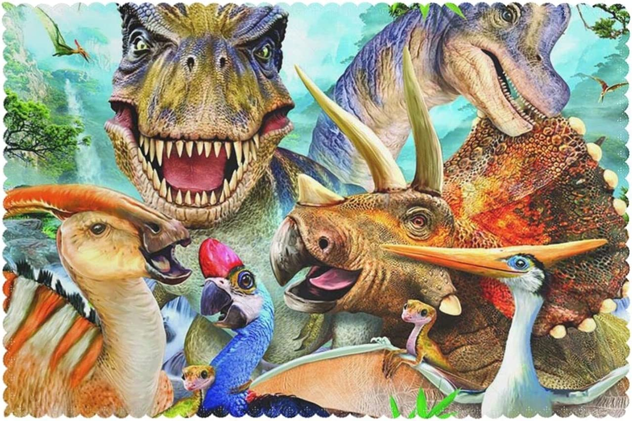 Placemats for Dining Table Set free of Print Max 63% OFF Animal 6 Dinosaur Selfie