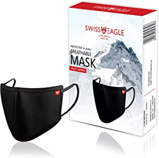 Swiss Eagle Black Cotton Respirator 6 Layer Reusable Outdoor Face Mask (PACK OF 1)
