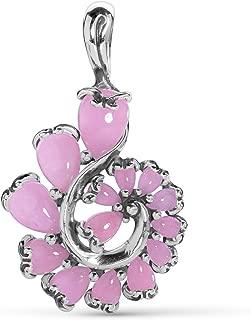 Sterling Silver Blue, Green, Pink or Multi-Colored Jade Gemstone Cascading Swirl Pendant Enhancer