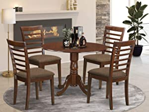 East West Furniture DLML5-MAH-C - 5 Piece Kitchen Dining Set - An Elegant Dining room Chairs Linen Fabric Seat and Mahogany Dinner Table
