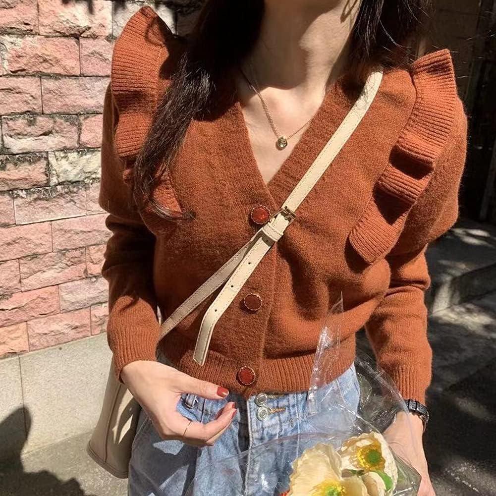 SLSFJLKJ Vintage Ruffles Patchwork Knitted Cardigan Sweater Women Full Sleeve V-Neck Crop Tops Korean Fashion Solid Female Jumpers (Color : Caramel, Size : One Size)