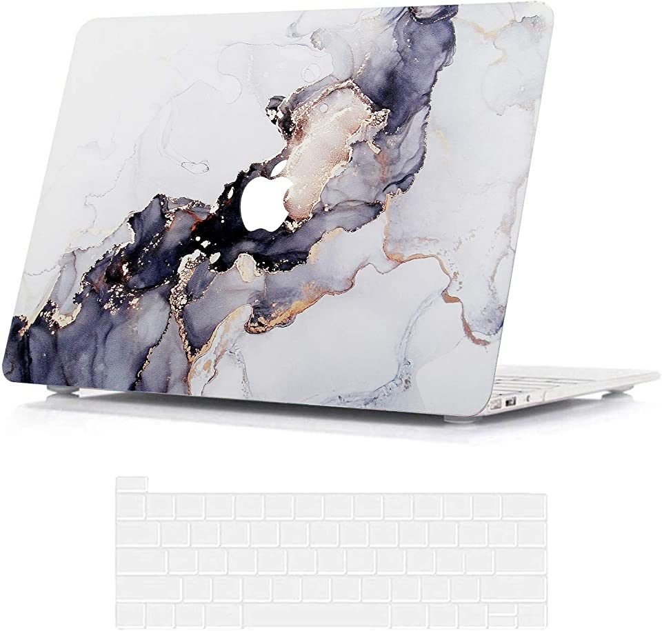 BELK Compatible with MacBook Pro 13 inch Case 2020 2019 2018 2017 2016 with Touch Bar A2338 M1 A2289 A2251 A2159 A1989 A1706 A1708, Slim Printing Pattern Hard Shell with Keyboard Cover, Flow Gold