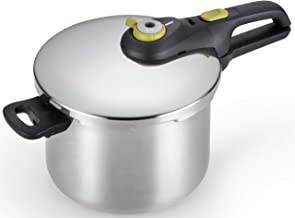 T-fal Pressure Cooker, Stainless Steel Cookware, Dishwasher Safe, 15-PSI Settings, 6.3-Quart, Silver, Model P25107