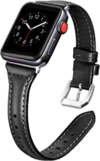 Secbolt Leather Bands Compatible Apple Watch Band 38mm 40mm Slim Replacement Wristband Sport Strap for Iwatch Series 5 4 3 2 1 Stainless Steel Buckle