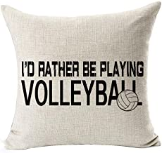 Sports Series Black I'd Rather Be Playing Volleyball Design Cotton Linen Throw Pillow Case Cushion Cover Home Office Decor...