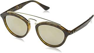 RAY-BAN RB4257 Gatsby II Round Sunglasses, Matte Havana/Light Brown Mirror Gold, 50 mm