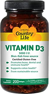 Country Life Vitamin D3 5000 I.U, 200-Softgel