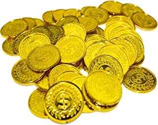 100Pcs Plastic Pirate Gold Coins - Fake Money Party Favors - Pirate Treasure Coins Toy Coins for Kids Party Supplies Props Decoration