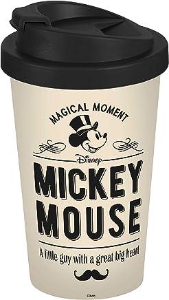 Preisvergleich für Disney Mickey Mouse 13760 Disney Mickey & Minnie Vintage Coffee to go Becher, Kaffeebecher, Mehrwegbecher, PP, 400 milliliters, Beige