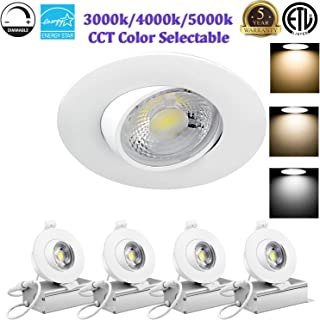 8W 3 inch LED Eyeball Recessed Lighting Kit Dimmable Downlight-Directional Adjustable Fixture Without Can and Trim (65W Equiv.) 3000K/4000K/5000K Color Temperature Selectable, 800lm-ETL Energy Star