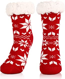 Termiska strumpor för kvinnor varma ullstrumpor tjocka strumpor för vinter (röd)