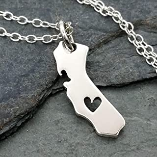 Heart of California State Charm Necklace - 925 Sterling Silver, 18
