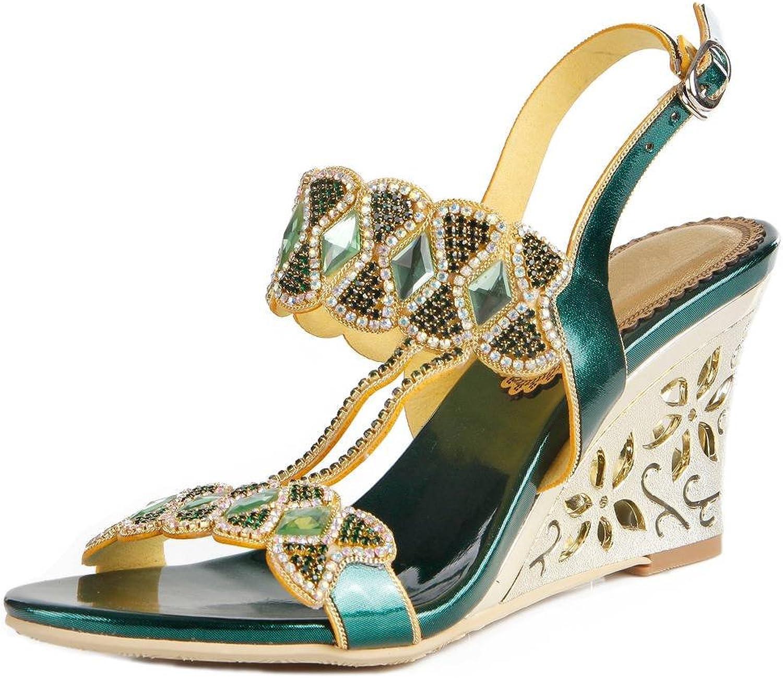YooPrettyz Women Open Toe Leather Sandal Wedge Jewelled Ankle Strap Dress Wedge Heels
