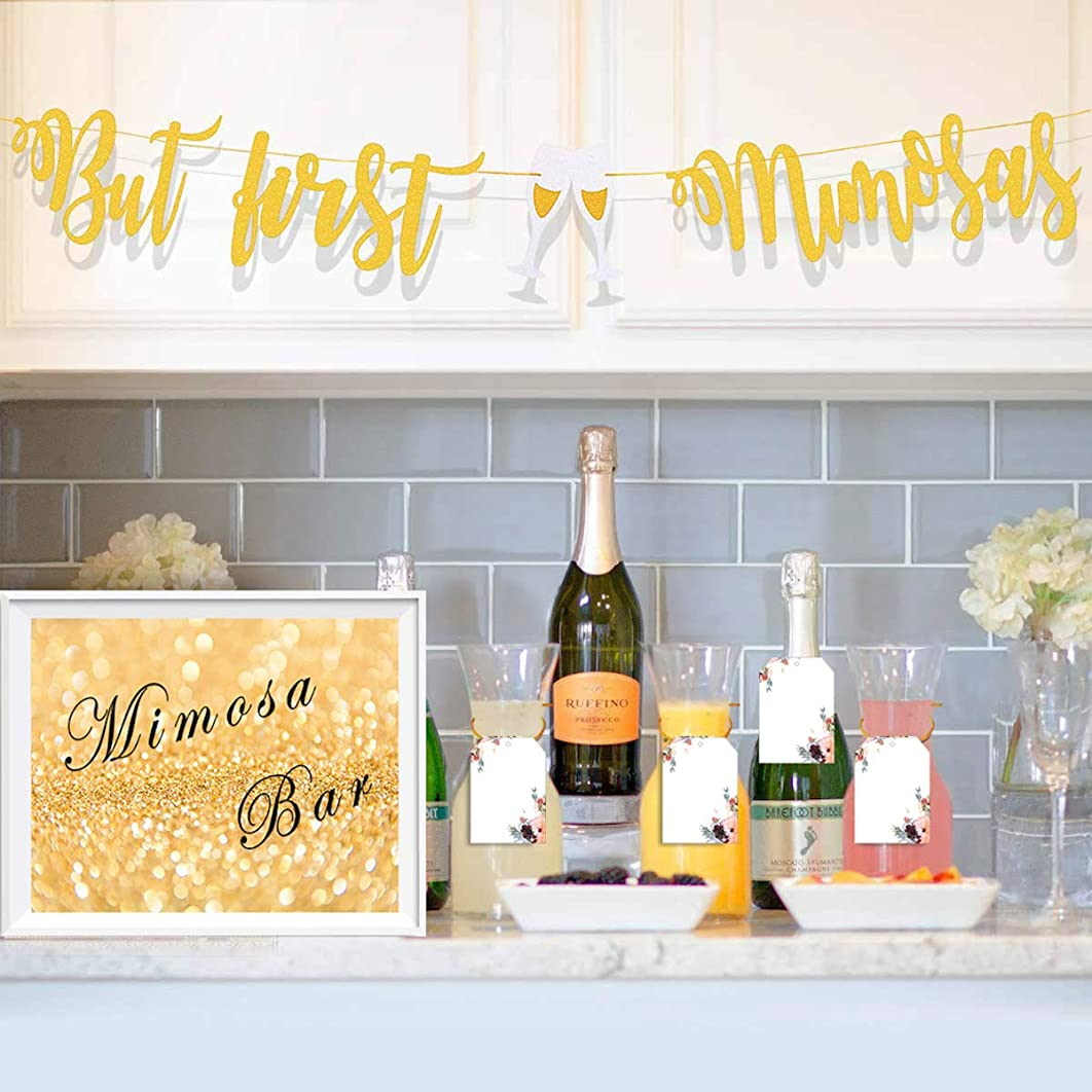 Taygate Mimosa Bar Supplies-Gold Sign But First Mimosa Banner Floral Tags Kit-Bridal Shower Decorations for Baby Shower Champagne Brunch Bubbly Bar Wedding Engagement Birthday Party Graduation Fiesta