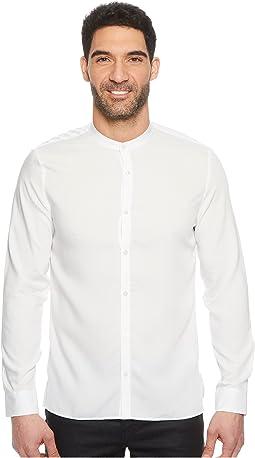 Band Collar Dobby Twill Button Down Shirt