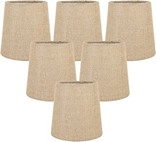 Meriville Set of 6 Natural Burlap Clip On Chandelier Lamp Shades, 4-inch by 5-inch by 5-inch